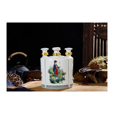 1斤装景德镇陶瓷酒瓶空酒具四大美女酒壶密封酒盅分酒器5瓶装